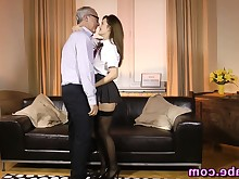 babe brunette european handjob hardcore hd old+young stockings